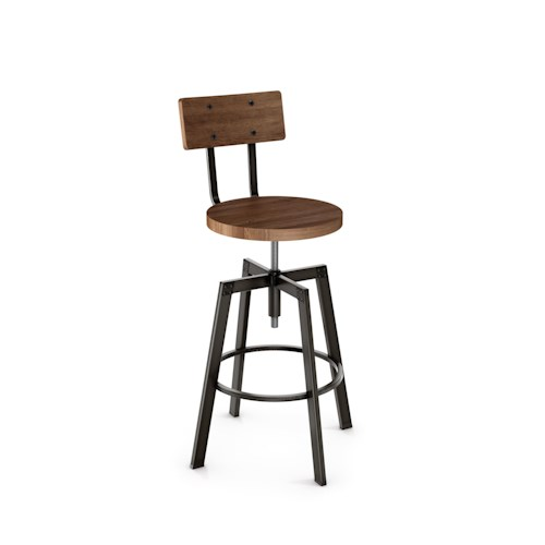 Amisco Stools Architect Stool with Wooden Seat and Back