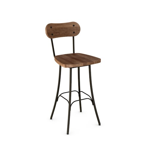 Amisco Stools Bean Swivel Stool with Wood Seat and Metal Legs
