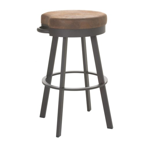 Amisco Stools Bryce Swivel Stool with Round, Upholstered Seat