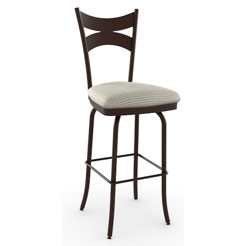 Amisco Stools Meadow Swivel Bar Stool with Upholstered Seat and Steel Frame