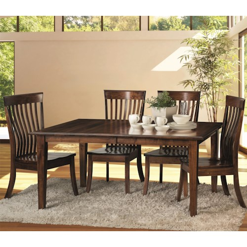 Morris Home Furnishings Classic 5 Piece Dining Set with Kennebec Slat Side Chairs