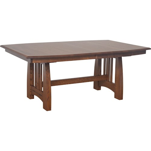Morris Home Furnishings Hayworth Trestle Dining Table with Ebony Wood Inlays