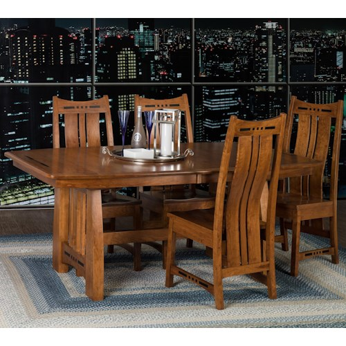 Morris Home Furnishings Hayworth 5 Piece Dining Set with Slat Back Chairs
