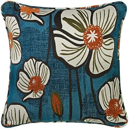 Angelo:HOME Fashion Pillows Midnight Teal And Orange Floral Square Pillow