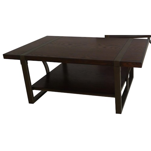 APA by Whalen Mason Wood and Metal Cocktail Table with Shelf