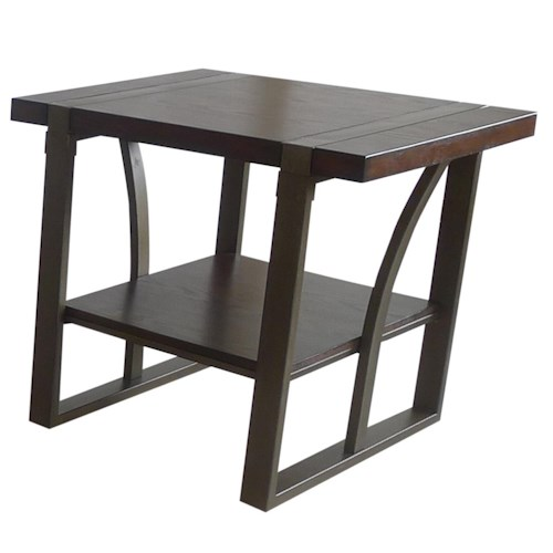 APA by Whalen Mason Wood and Metal End Table with Shelf