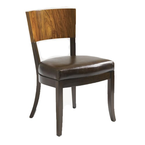 Aquarius Aquarius Allure Rosewood and Mahogany Side Chair with Brown Leather Seat