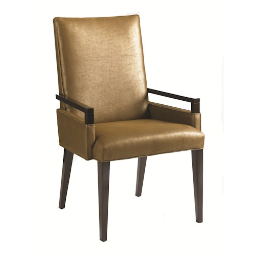 Aquarius Aquarius Vision Modern Arm Chair with Exposed Wood and Umber Fabric Upholstery