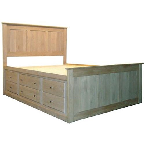 Archbold Furniture Alder Shaker Queen Flat Panel Chest Bed with 12 Drawers