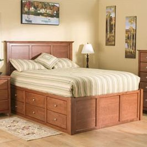 Archbold Furniture Alder Shaker Queen Flat Panel Chest Bed with 9 Drawers