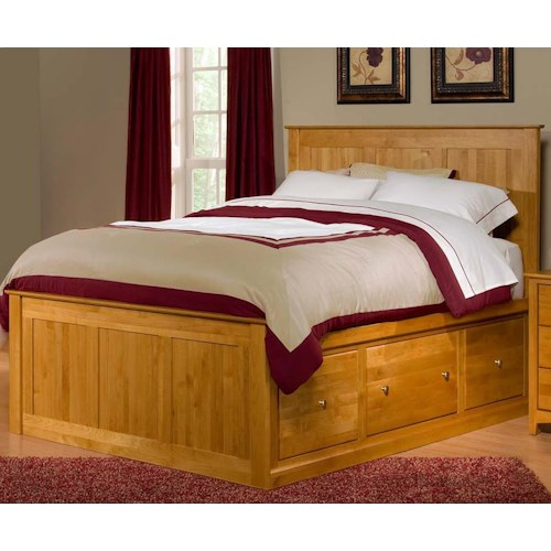 Archbold Furniture Alder Shaker King Flat Panel Chest Bed with 6 Drawers