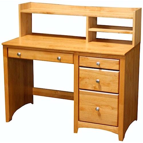 Archbold Furniture Alder Shaker Solid Alder 4 Drawer Desk and Hutch