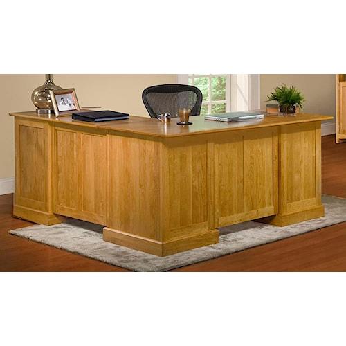 Archbold Furniture Alder Shaker American Made L Shape Desk and Return