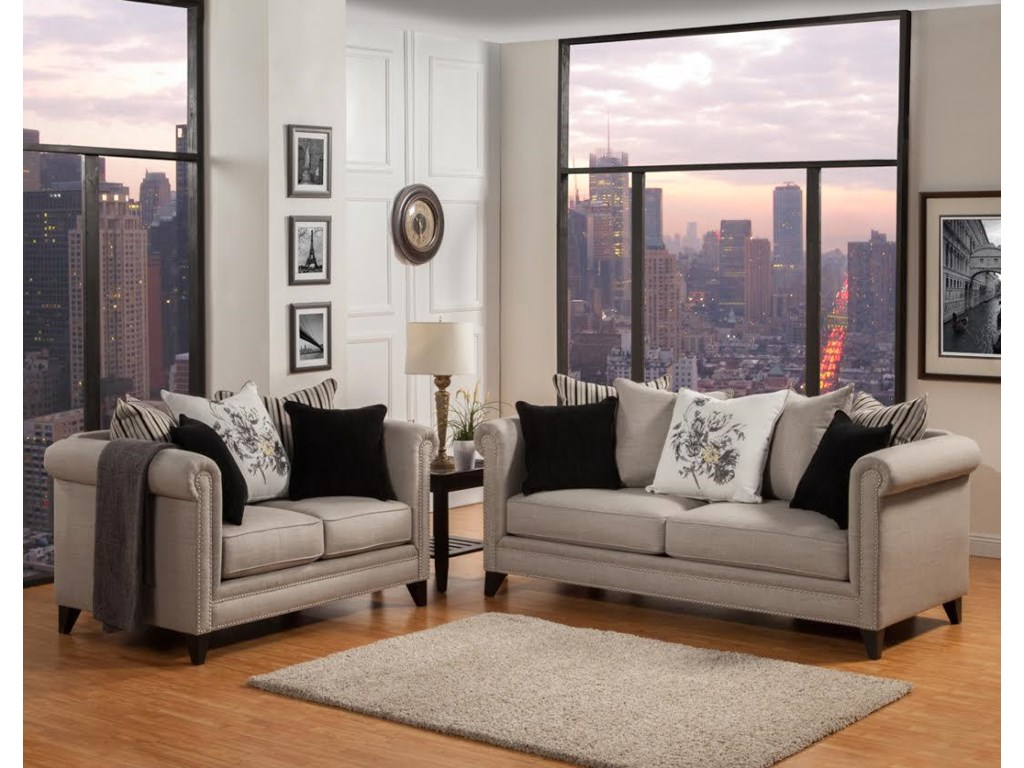 Two Loveseats In Living Room Del Sol Exclusive Florentine Mink Florentine Two Pieces Set Del