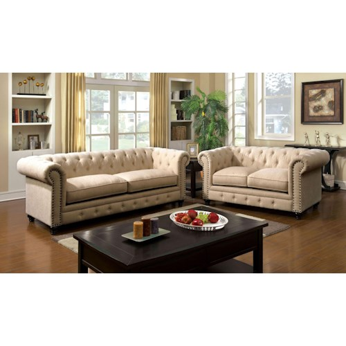 Furniture of America / Import Direct Stanford Stanford Ivory Sofa & Love Seat