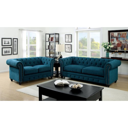 Furniture of America / Import Direct Stanford Stanford Teals Sofa & Love Seat