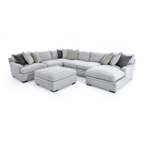 Aria Designs Vance Casual Five Piece Sectional Sofa with Ottoman