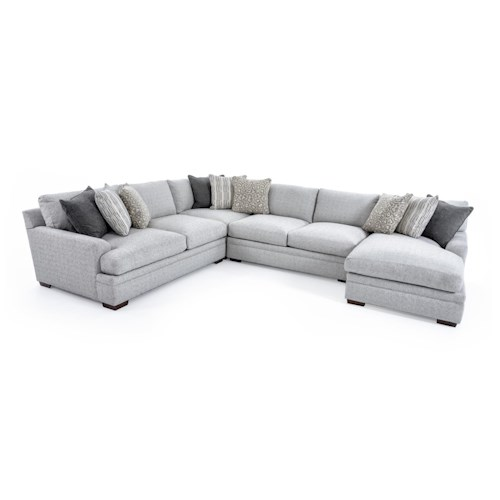 Aria Designs Vance Casual Four Piece Sectional Sofa with Chaise Lounge
