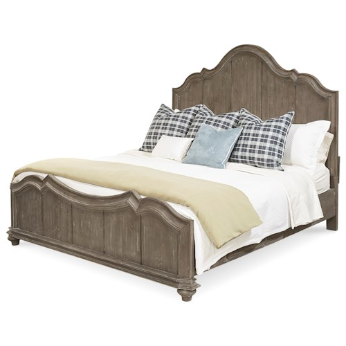 A.R.T. Furniture Inc Allie Solid Pine King Panel Bed in Weathered Gray Finish