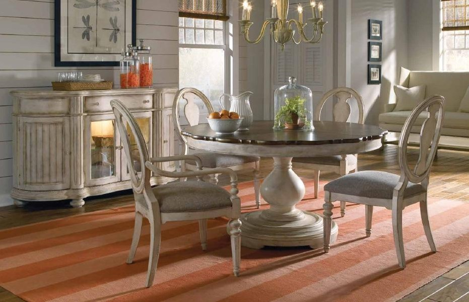 Shown With Oval Back Side Chair, Round Dining Table, and Sideboard
