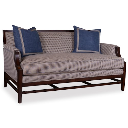 A.R.T. Furniture Inc Bristol Settee with Stretcher Base and Down Blend Seat Cushion