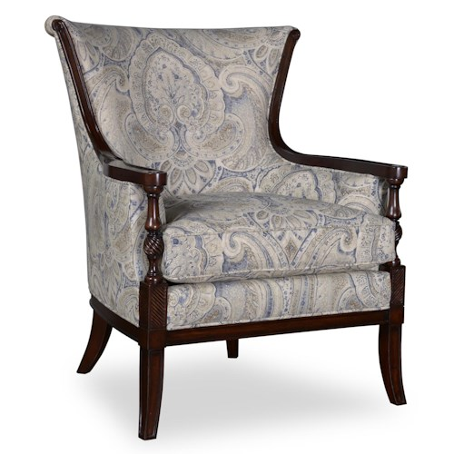 A.R.T. Furniture Inc Bristol Traditional Carved Wood Accent Chair in Tapestry Fabric