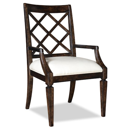 A.R.T. Furniture Inc Classic Lattice-Back Arm Chair with Upholstered Seat