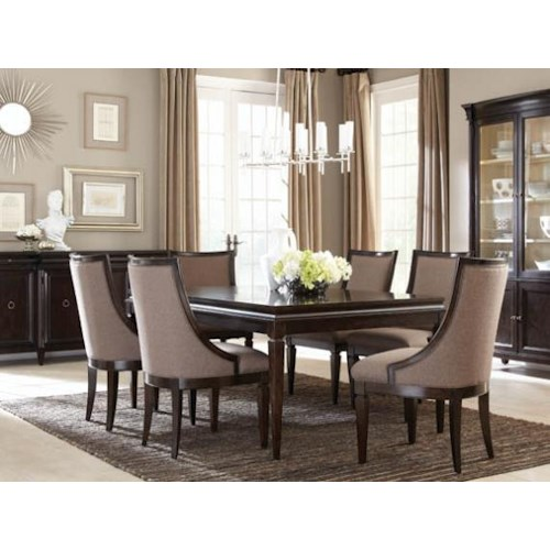 A.R.T. Furniture Inc Classic 7-Piece Leg Dining Table Set with Upholstered Sling Chairs