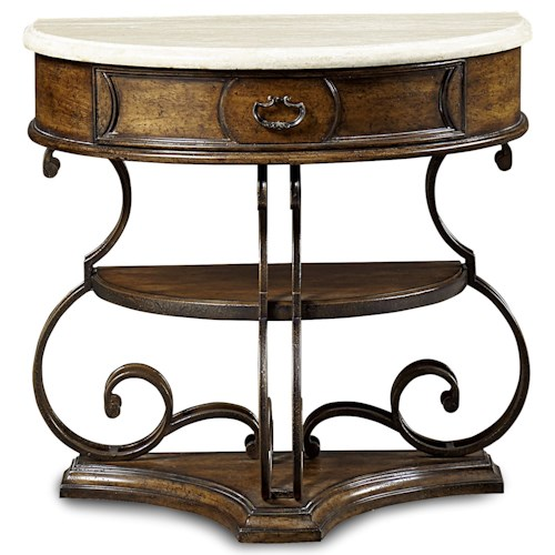 A.R.T. Furniture Inc Continental Demilune Nightstand with Stone Top & Metal Frame
