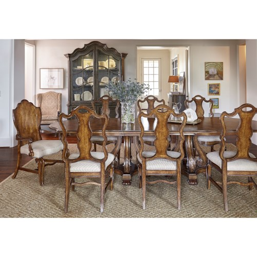 A.R.T. Furniture Inc Continental 9-Piece Double Pedestal Dining Table Set