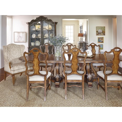 A.R.T. Furniture Inc Continental 9-Piece Double Pedestal Dining Table Set with Wing Back Arm Chairs