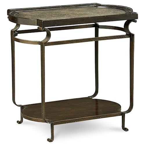 A.R.T. Furniture Inc Continental Rectangular End Table with Metal Frame and Metal Insert Top