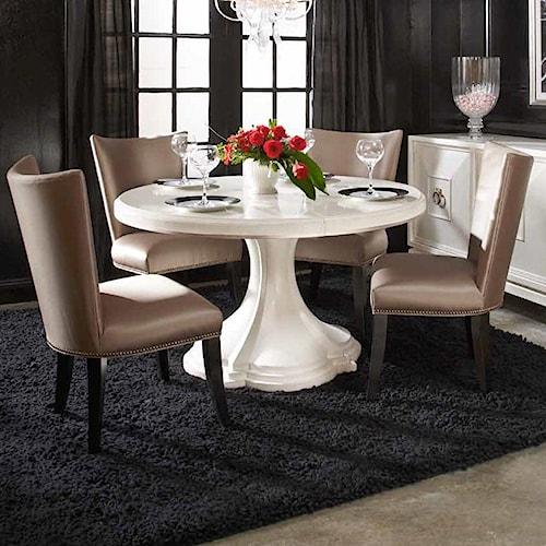 A.R.T. Furniture Inc Cosmopolitan 5-Piece Round Table Set with Quatrefoil Table Base