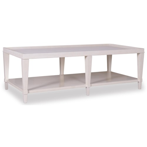 Belfort Signature Magellan Rectangular Cocktail Table with Faux Crocodile Embossed Leather Inset Top