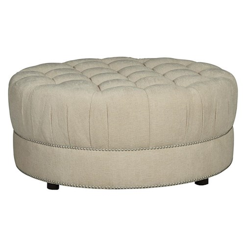 A.R.T. Furniture Inc Cotswold Amanda - Ivory Round Cocktail Ottoman with Tufted Top and Nail Head Trim