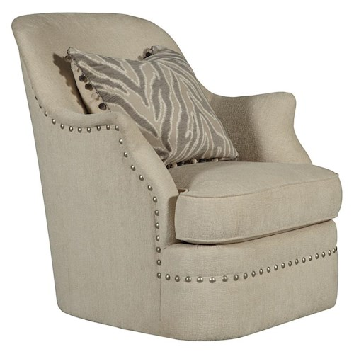 A.R.T. Furniture Inc Cotswold Amanda - Ivory Swivel Chair with Shaped Arms and Nail Head Trim