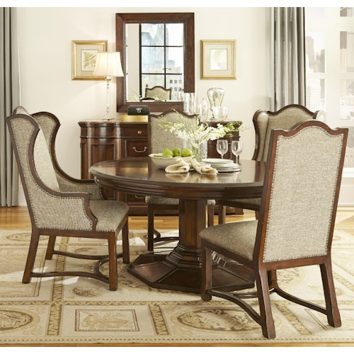 Belfort Signature Edwards Ferry 5 Piece Round Dining Table Set with Upholstered Chairs