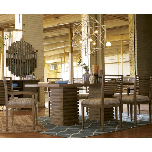 Belfort Signature Urban Treasures 7-Piece Shaw Double Pedestal Dining Table Set