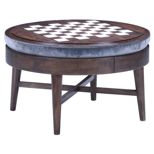 A.R.T. Furniture Inc Epicenters Silver Lake Game Storage Cocktail Ottoman with Reversible Checkerboard