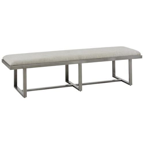 A.R.T. Furniture Inc Epicenters Narrow Silver Lake Metal Bench/Upholstered Cocktail Ottoman