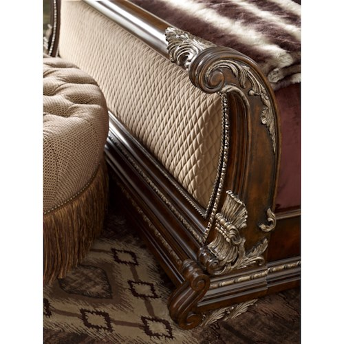 A.R.T. Furniture Inc Gables Traditional King Upholstered Sleigh Bed with Quilted Upholstered Panels