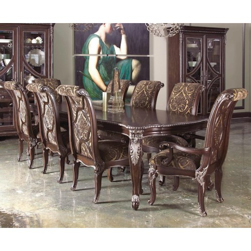 A.R.T. Furniture Inc Gables 9-Piece Leg Dining Table Set with Upholstered Back Chairs