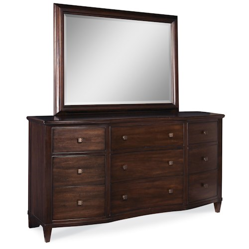 A.R.T. Furniture Inc Intrigue 9-Drawer Dresser with Beveled Edge Landscape Mirror