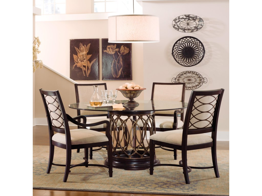 Shown with Upholstered Arm Chairs & Round Glass Top Dining Table