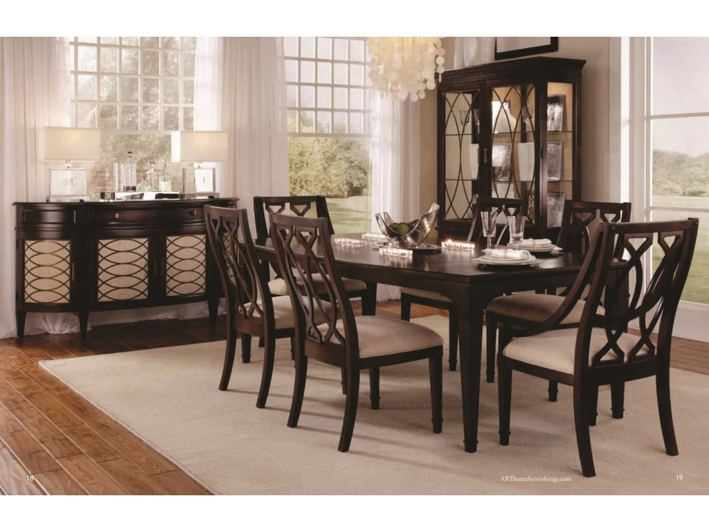 Shown with Wood Back Arm Chair, Wood Back Side Chairs, Sideboard & Display China