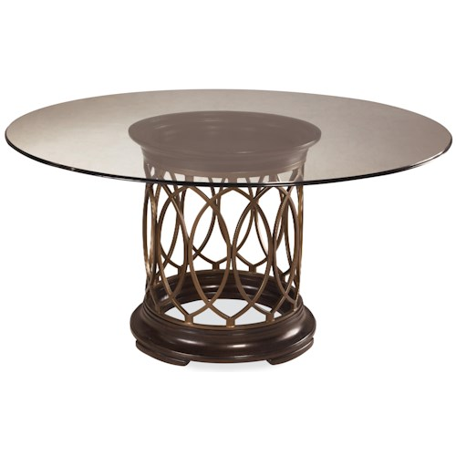 Belfort Signature Bolbrook Round Glass Top Single Pedestal Dining Table with Metal Marquise Detail