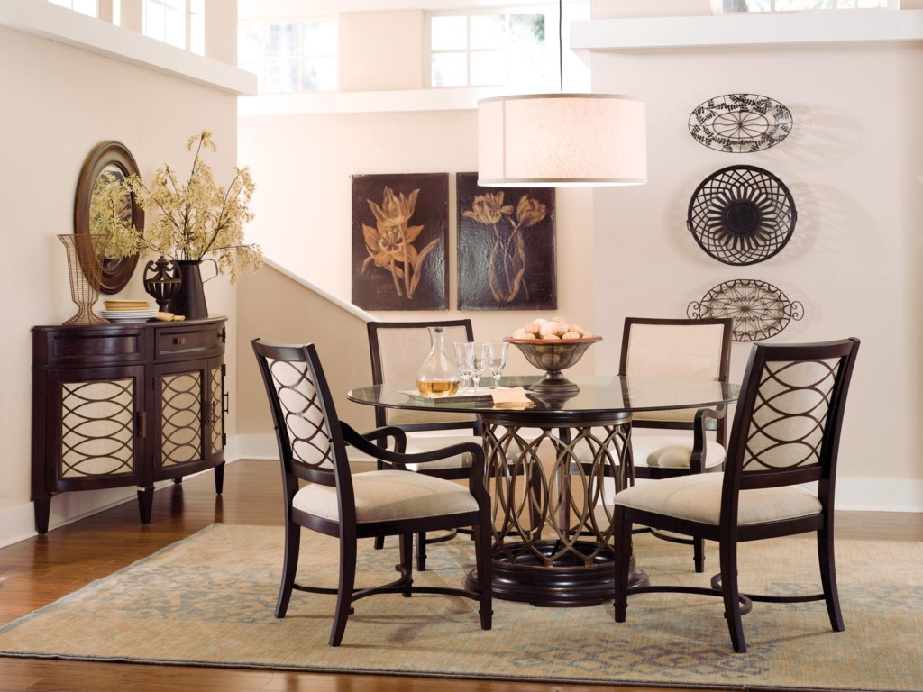 Shown with Upholstered Arm Chairs, Upholstered Side Chairs & Sideboard