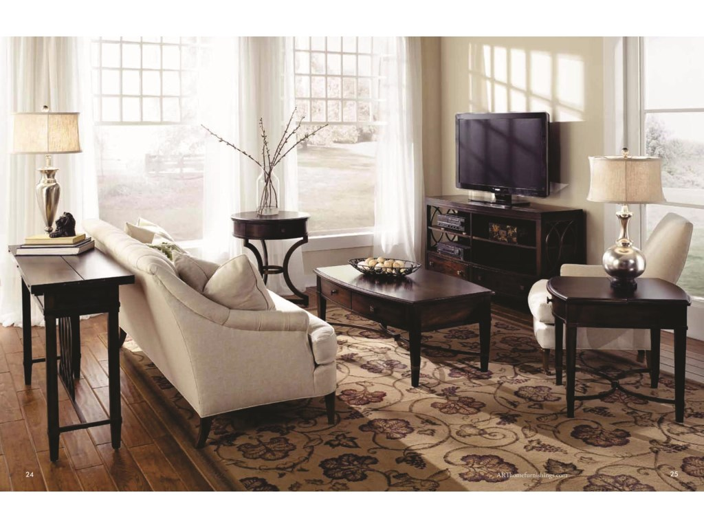 Shown with Flip Top Sofa Table, Flip Top End Table, Round End Table & Entertainment Console
