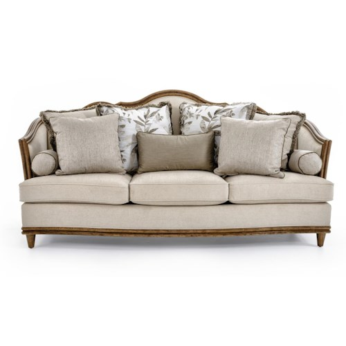 A.R.T. Furniture Inc Monterrey Camelback Sofa with Carved Wood Trim