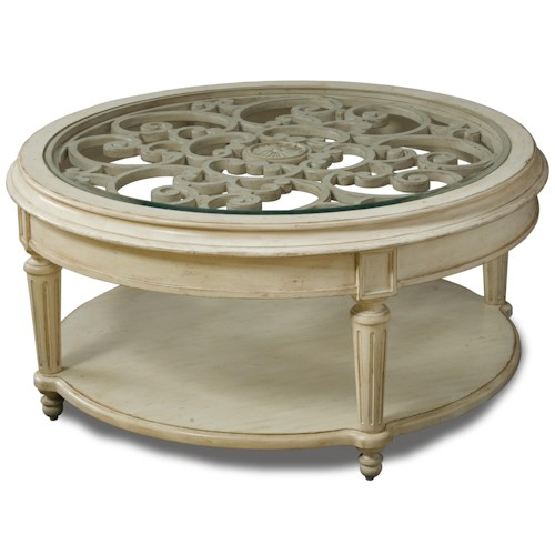 Belfort Signature Sonnet Carved Round Cocktail Table with Glass Top